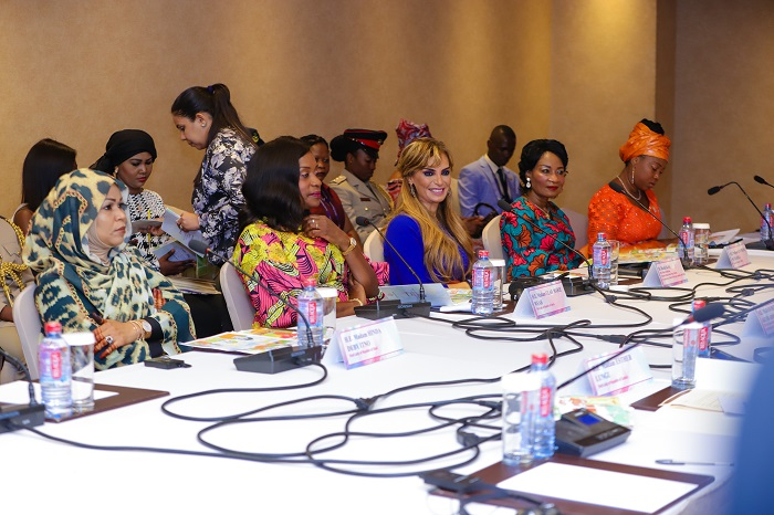 Dr. Rasha Kelej, CEO of Merck Foundation with H.E. HINDA DEBY ITNO, The First Lady of Chad; H.E. CLAR WEAH, The First Lady of Liberia; H.E. GERTRUDE MUTHARIKA, The First Lady of Malawi; H.E. FATIMA MAADA BIO, The First Lady of Sierra Leone